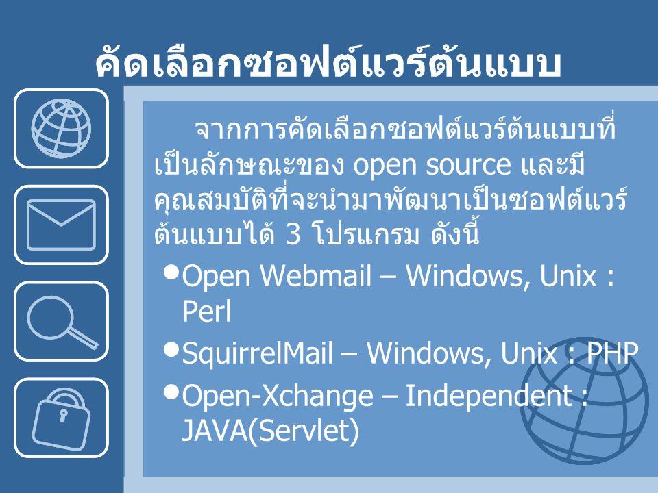 คัดเลือกซอฟต์แวร์ต้นแบบ จากการคัดเลือกซอฟต์แวร์ต้นแบบที่ เป็นลักษณะของ open source และมี คุณสมบัติที่จะนำมาพัฒนาเป็นซอฟต์แวร์ ต้นแบบได้ 3 โปรแกรม ดังนี้ Open Webmail – Windows, Unix : Perl SquirrelMail – Windows, Unix : PHP Open-Xchange – Independent : JAVA(Servlet)
