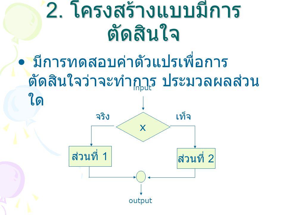 มีการทดสอบค่าตัวแปรเพื่อการ ตัดสินใจว่าจะทำการ ประมวลผลส่วน ใด 2. โครงสร้างแบบมีการ ตัดสินใจ x ส่วนที่ 1 ส่วนที่ 2 input output จริง เท็จ