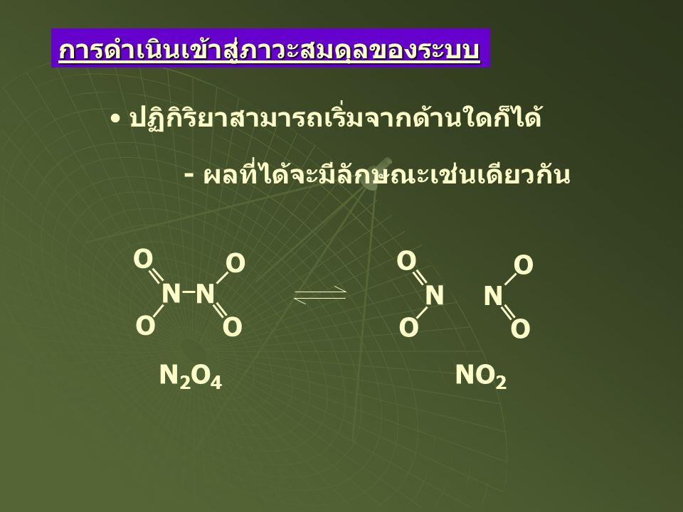 N2O4N2O4 NO 2 N N O O O O N O O N O O ปฏิกิริยาสามารถเริ่มจากด้านใดก็ได้ - ผลที่ได้จะมีลักษณะเช่นเดียวกัน การดำเนินเข้าสู่ภาวะสมดุลของระบบ