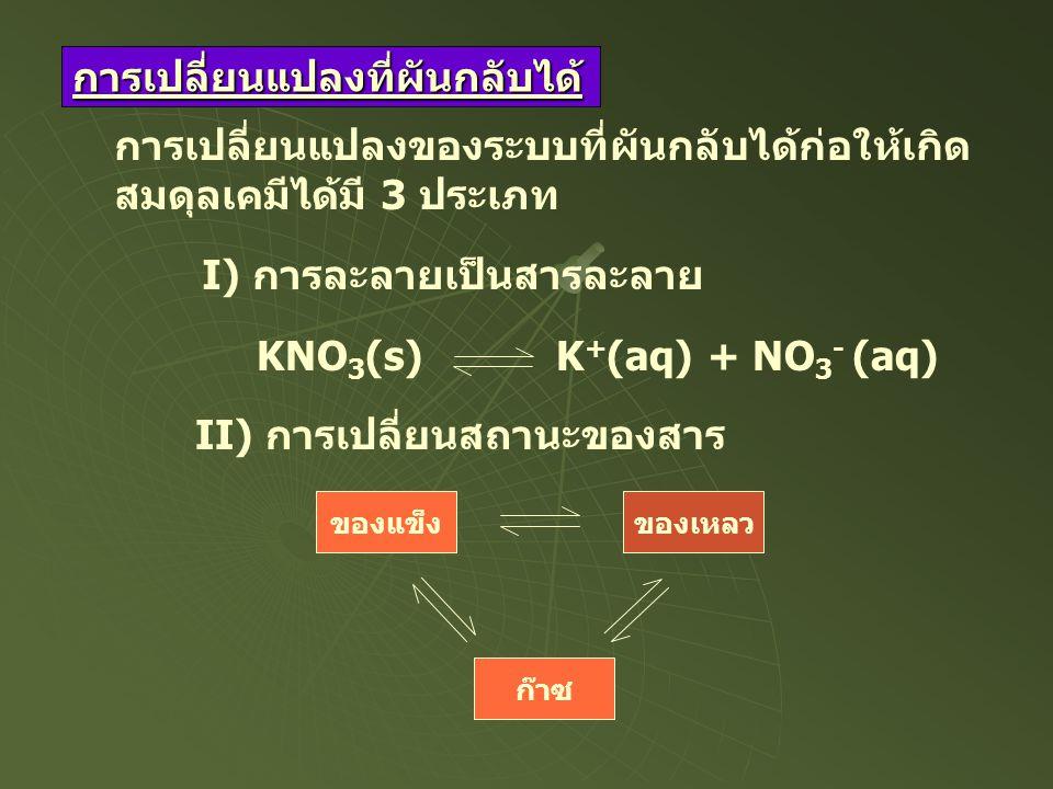 การเปลี่ยนแปลงที่ผันกลับได้ การเปลี่ยนแปลงของระบบที่ผันกลับได้ก่อให้เกิด สมดุลเคมีได้มี 3 ประเภท I) การละลายเป็นสารละลาย KNO 3 (s) K + (aq) + NO 3 - (