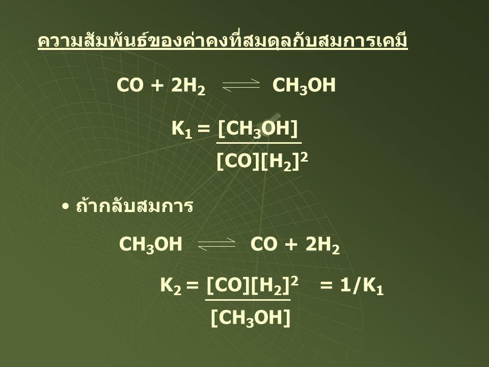 ความสัมพันธ์ของค่าคงที่สมดุลกับสมการเคมี CO + 2H 2 CH 3 OH K 1 = [CH 3 OH] [CO][H 2 ] 2 ถ้ากลับสมการ CH 3 OH CO + 2H 2 K 2 = [CO][H 2 ] 2 [CH 3 OH] =