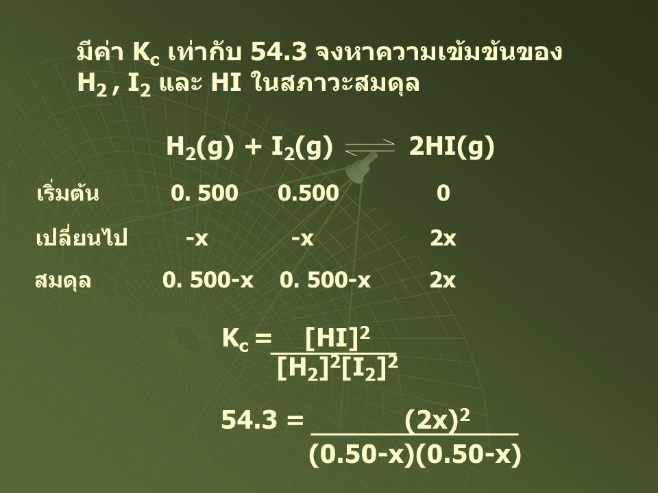 มีค่า K c เท่ากับ 54.3 จงหาความเข้มข้นของ H 2, I 2 และ HI ในสภาวะสมดุล H 2 (g) + I 2 (g) 2HI(g) เริ่มต้น 0. 500 0.500 0 เปลี่ยนไป -x -x 2x สมดุล 0. 50