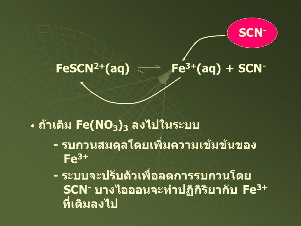 SCN - FeSCN 2+ (aq) Fe 3+ (aq) + SCN - ถ้าเติม Fe(NO 3 ) 3 ลงไปในระบบ - รบกวนสมดุลโดยเพิ่มความเข้มข้นของ Fe 3+ - ระบบจะปรับตัวเพื่อลดการรบกวนโดย SCN -