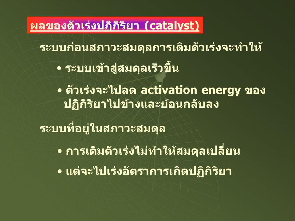 ผลของตัวเร่งปฏิกิริยา (catalyst) ระบบเข้าสู่สมดุลเร็วขึ้น ตัวเร่งจะไปลด activation energy ของ ปฏิกิริยาไปข้างและย้อนกลับลง ระบบก่อนสภาวะสมดุลการเติมตั