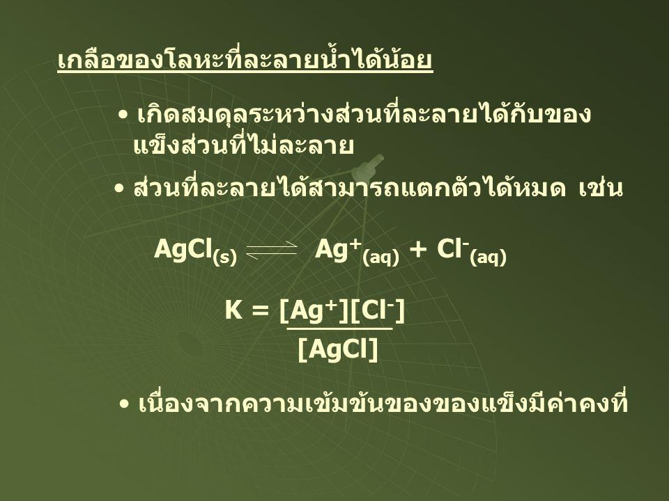 เกลือของโลหะที่ละลายน้ำได้น้อย เกิดสมดุลระหว่างส่วนที่ละลายได้กับของ แข็งส่วนที่ไม่ละลาย AgCl (s) Ag + (aq) + Cl - (aq) ส่วนที่ละลายได้สามารถแตกตัวได้