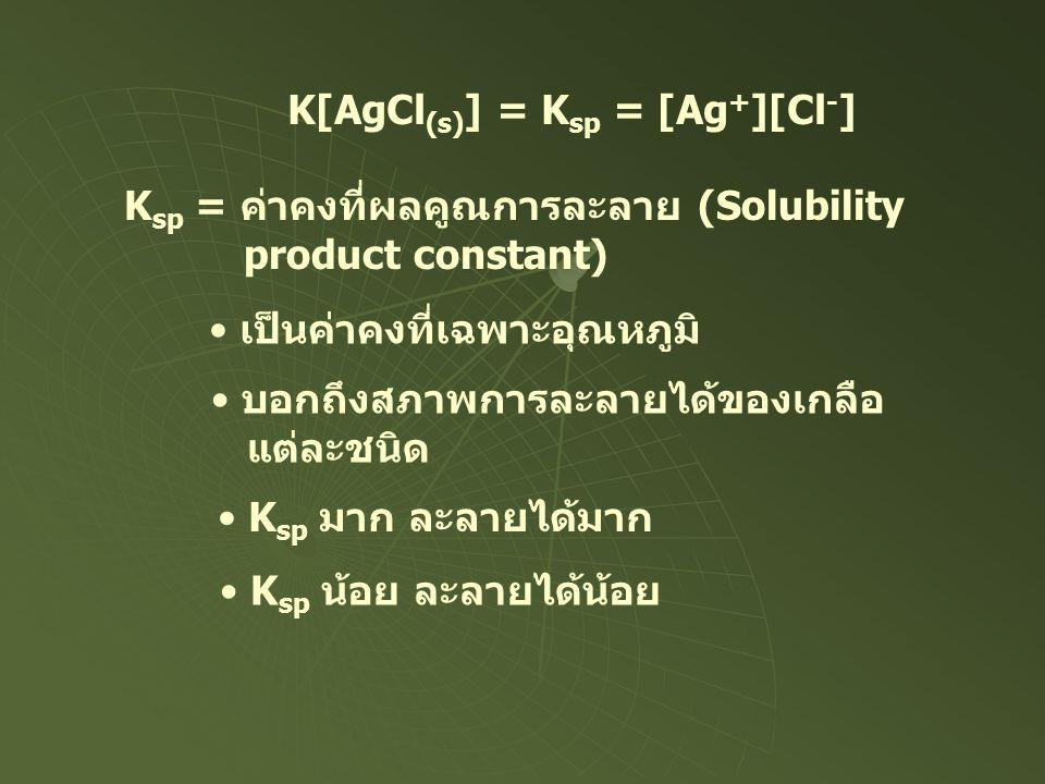 K[AgCl (s) ] = K sp = [Ag + ][Cl - ] K sp = ค่าคงที่ผลคูณการละลาย (Solubility product constant) เป็นค่าคงที่เฉพาะอุณหภูมิ บอกถึงสภาพการละลายได้ของเกลื