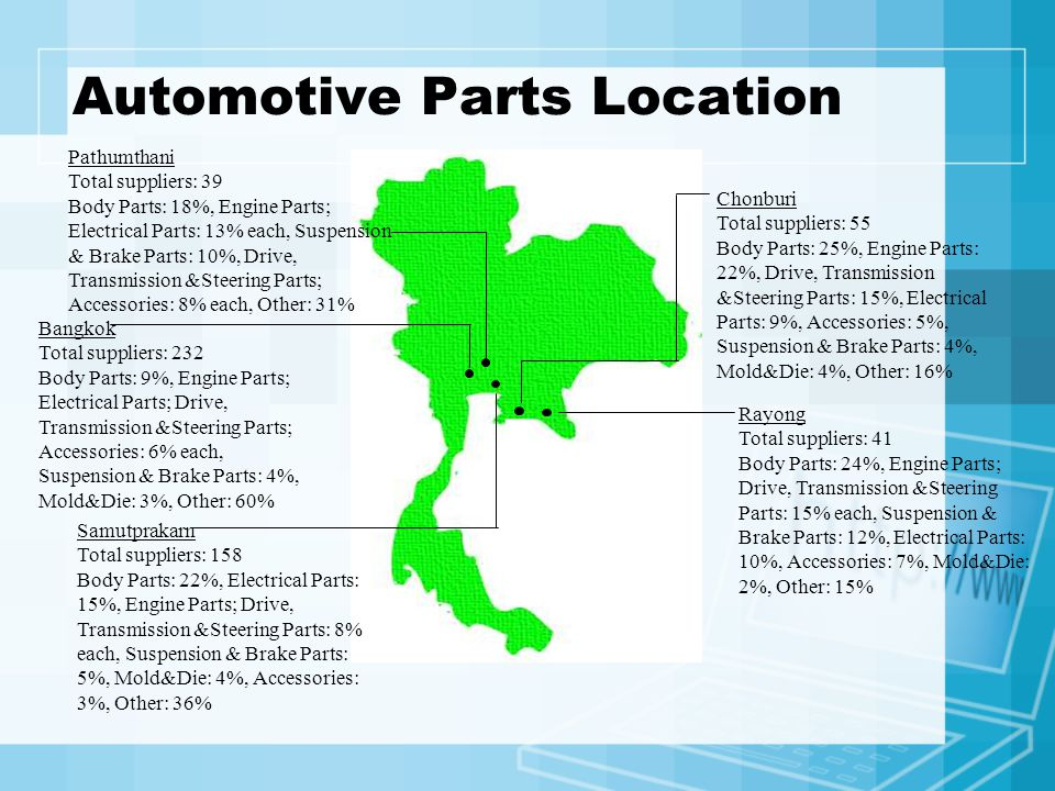 Automotive Parts Location Rayong Total suppliers: 41 Body Parts: 24%, Engine Parts; Drive, Transmission &Steering Parts: 15% each, Suspension & Brake