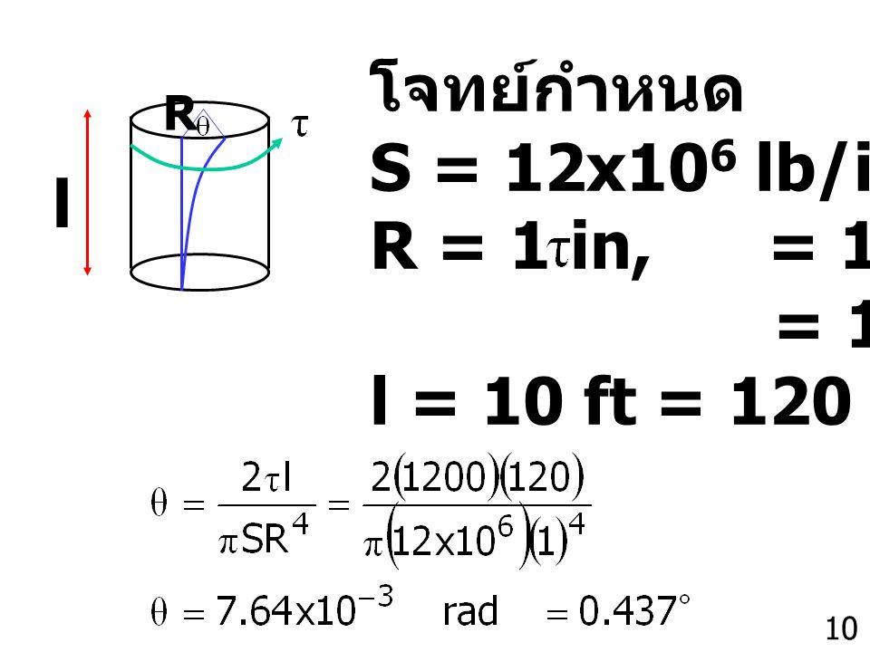 10 l R โจทย์กำหนด S = 12x10 6 lb/in 2, R = 1 in, = 100 lb-ft = 1200 lb-in l = 10 ft = 120 in