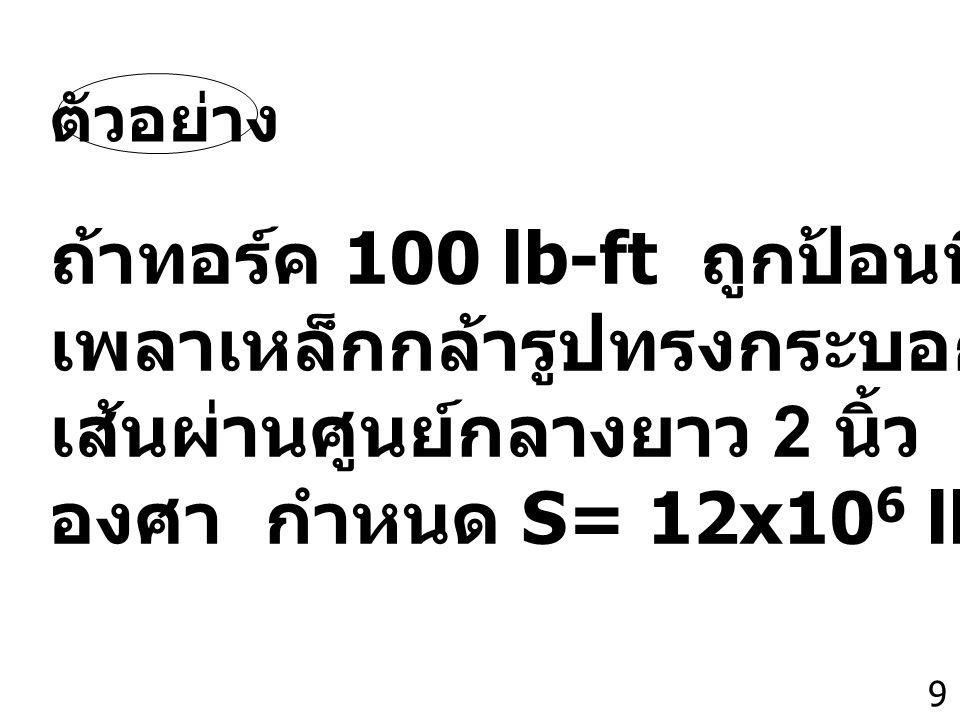 9 ถ้าทอร์ค 100 lb-ft ถูกป้อนที่ปลายข้างหนึ่งของ เพลาเหล็กกล้ารูปทรงกระบอกยาว 10 ft และมี เส้นผ่านศูนย์กลางยาว 2 นิ้ว เพลานี้จะบิดไปกี่ องศา กำหนด S= 12x10 6 lb/in 2 ตัวอย่าง