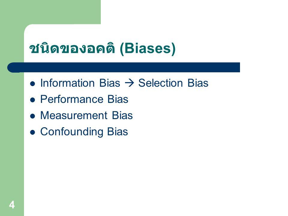 15 คำภามวิจัย Research Question ดำเนินการวิจัย เพื่อค้นหาความจริง ผลการวิจัย ( ข้อเท็จจริง ) ค่าความจริง (True Value) ค่าความเท็จ (Error) แบบสุ่ม (Random Error) แบบเป็นระบบ (Systematic Error หรือ Bias) +
