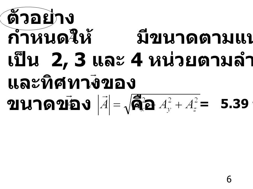 6 ตัวอย่าง กำหนดให้ มีขนาดตามแนวแกน x, y, z เป็น 2, 3 และ 4 หน่วยตามลำดับ จงหาขนาด และทิศทางของ ขนาดของ คือ = 5.39 หน่วย