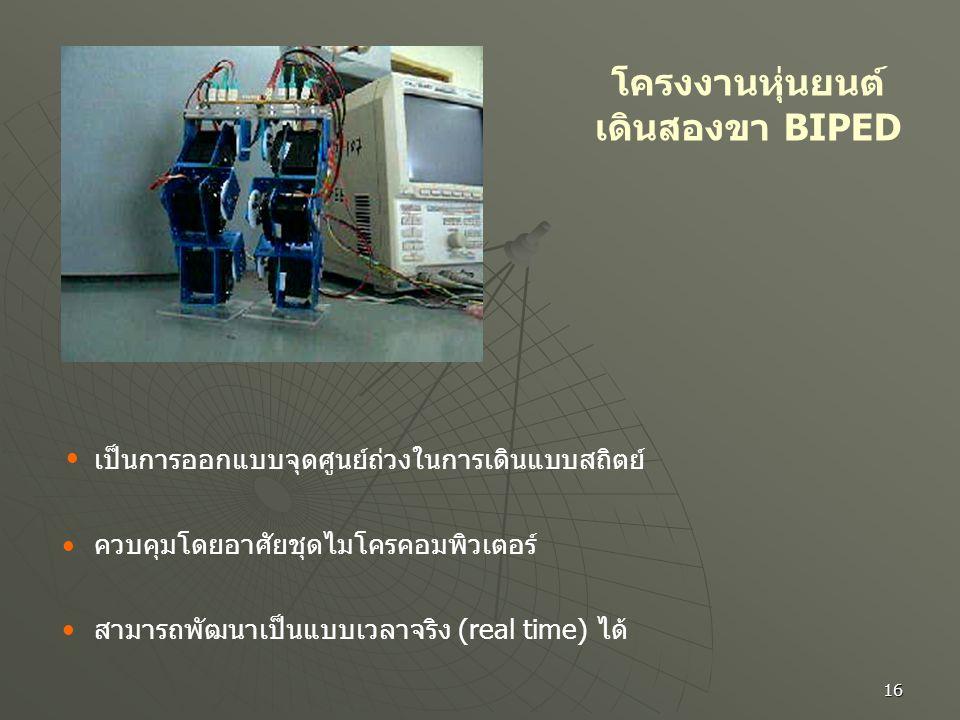 16 โครงงานหุ่นยนต์ เดินสองขา BIPED เป็นการออกแบบจุดศูนย์ถ่วงในการเดินแบบสถิตย์ ควบคุมโดยอาศัยชุดไมโครคอมพิวเตอร์ สามารถพัฒนาเป็นแบบเวลาจริง (real time