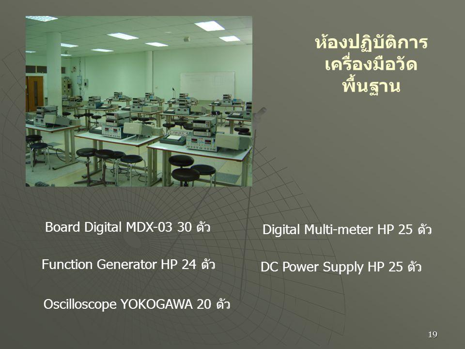 19 ห้องปฏิบัติการ เครื่องมือวัด พื้นฐาน Board Digital MDX-03 30 ตัว Function Generator HP 24 ตัว Oscilloscope YOKOGAWA 20 ตัว Digital Multi-meter HP 2