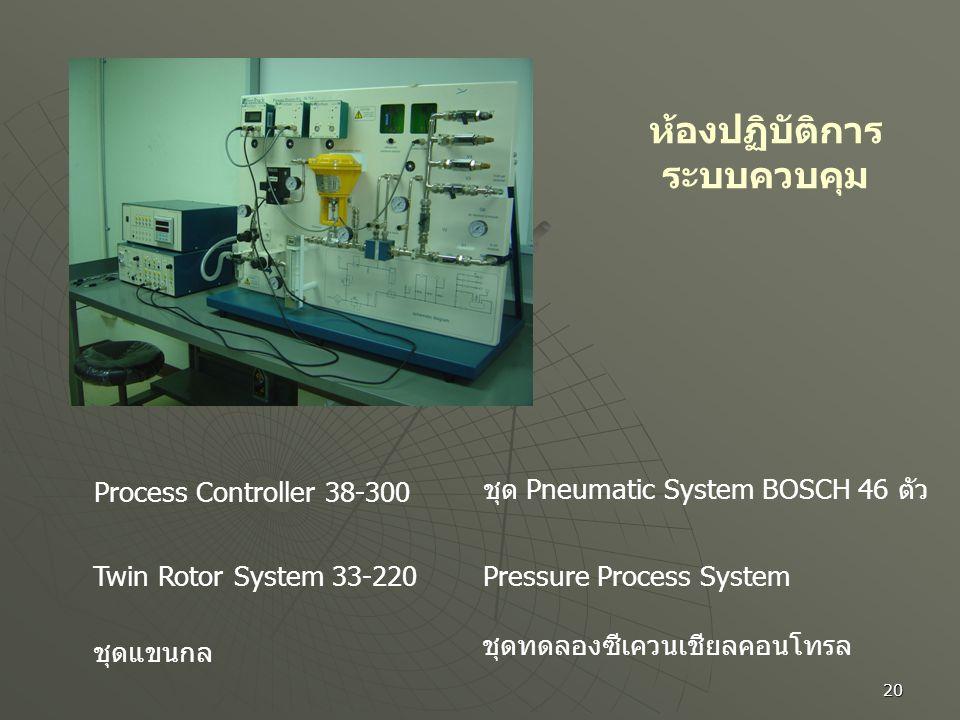 20 ห้องปฏิบัติการ ระบบควบคุม Process Controller 38-300 Twin Rotor System 33-220 ชุดแขนกล ชุด Pneumatic System BOSCH 46 ตัว Pressure Process System ชุด
