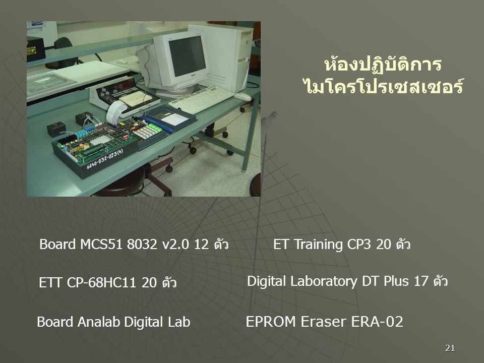 21 ห้องปฏิบัติการ ไมโครโปรเซสเซอร์ Board MCS51 8032 v2.0 12 ตัว ETT CP-68HC11 20 ตัว Board Analab Digital Lab ET Training CP3 20 ตัว Digital Laborator