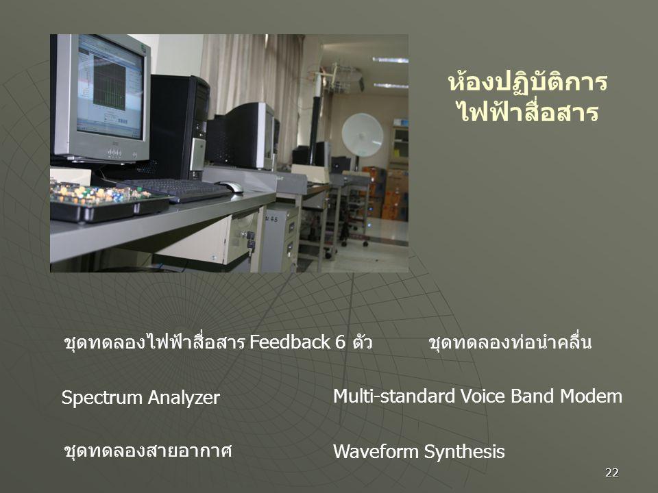 22 ห้องปฏิบัติการ ไฟฟ้าสื่อสาร ชุดทดลองไฟฟ้าสื่อสาร Feedback 6 ตัว Spectrum Analyzer ชุดทดลองสายอากาศ ชุดทดลองท่อนำคลื่น Multi-standard Voice Band Mod