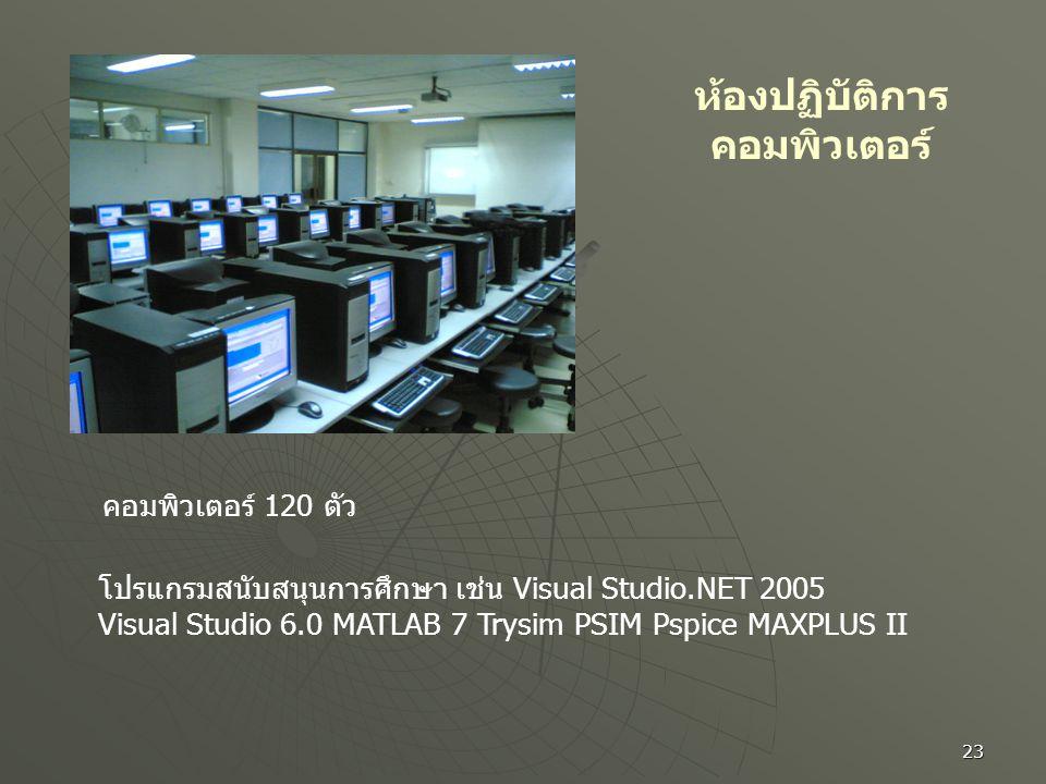 23 ห้องปฏิบัติการ คอมพิวเตอร์ คอมพิวเตอร์ 120 ตัว โปรแกรมสนับสนุนการศึกษา เช่น Visual Studio.NET 2005 Visual Studio 6.0 MATLAB 7 Trysim PSIM Pspice MA