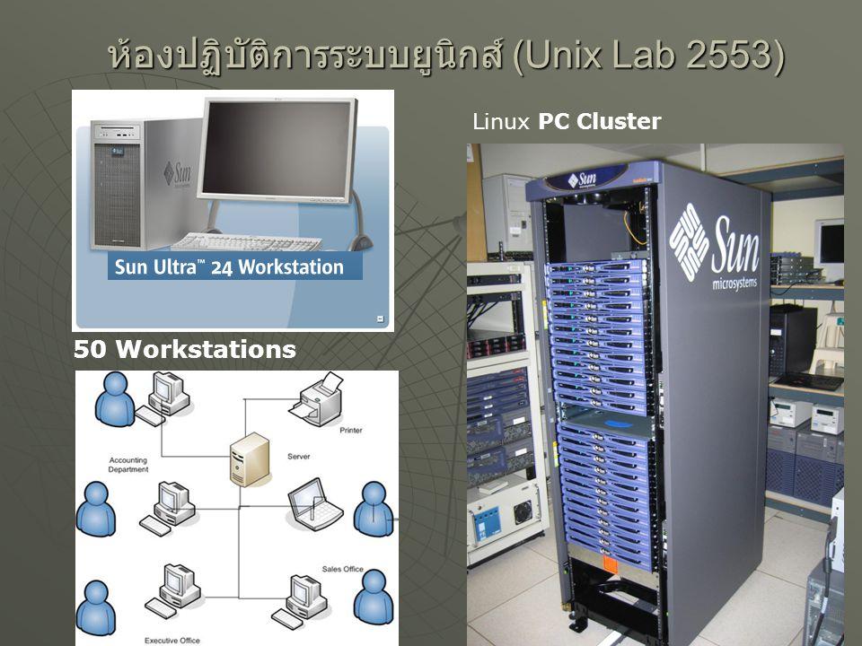 ห้องปฏิบัติการระบบยูนิกส์ (Unix Lab 2553) 25 50 Workstations Linux PC Cluster