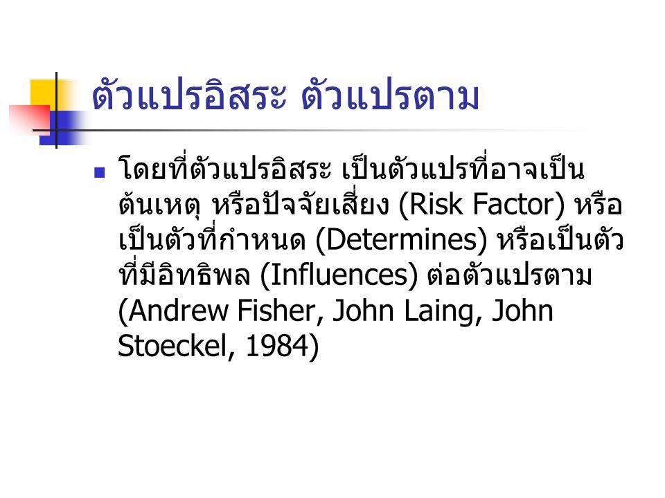 ตัวแปรอิสระ ตัวแปรตาม โดยที่ตัวแปรอิสระ เป็นตัวแปรที่อาจเป็น ต้นเหตุ หรือปัจจัยเสี่ยง (Risk Factor) หรือ เป็นตัวที่กำหนด (Determines) หรือเป็นตัว ที่มีอิทธิพล (Influences) ต่อตัวแปรตาม (Andrew Fisher, John Laing, John Stoeckel, 1984)