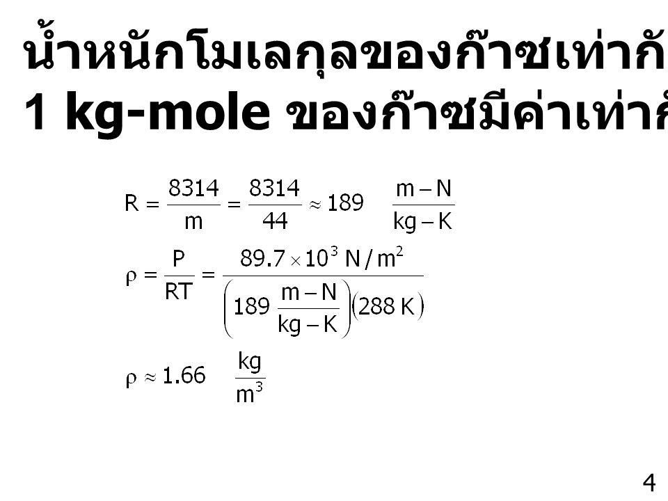 4 น้ำหนักโมเลกุลของก๊าซเท่ากับ 44 ดังนั้น 1 kg-mole ของก๊าซมีค่าเท่ากับ 44 kg