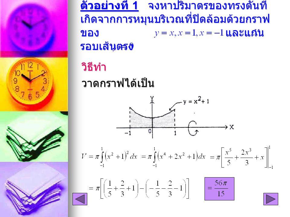 ตัวอย่างที่ 1 จงหาปริมาตรของทรงตันที่ เกิดจากการหมุนบริเวณที่ปิดล้อมด้วยกราฟ ของ และแกน รอบเส้นตรง วิธีทำวาดกราฟได้เป็น