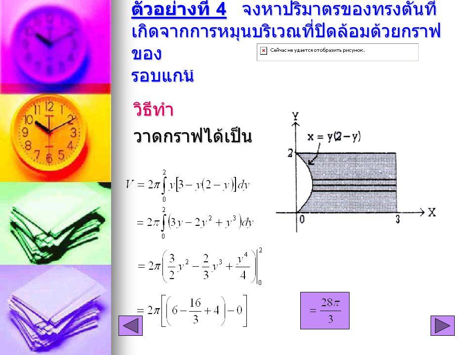 ตัวอย่างที่ 4 จงหาปริมาตรของทรงตันที่ เกิดจากการหมุนบริเวณที่ปิดล้อมด้วยกราฟ ของ รอบแกน วิธีทำวาดกราฟได้เป็น