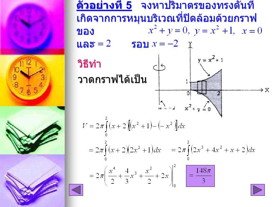ตัวอย่างที่ 5 จงหาปริมาตรของทรงตันที่ เกิดจากการหมุนบริเวณที่ปิดล้อมด้วยกราฟ ของ และ รอบ วิธีทำวาดกราฟได้เป็น