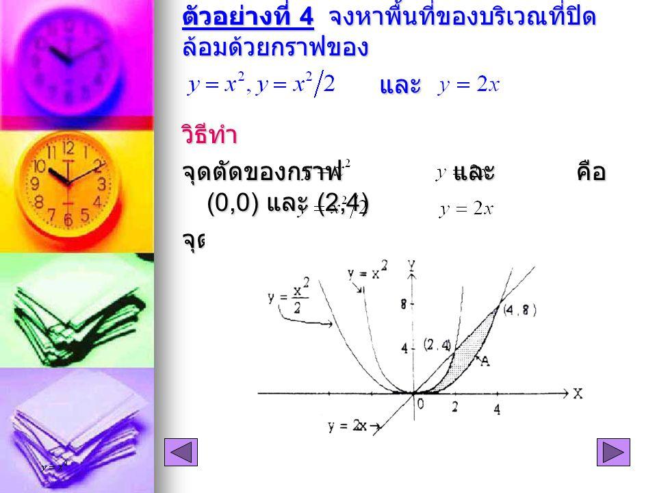 ตัวอย่างที่ 4 จงหาพื้นที่ของบริเวณที่ปิด ล้อมด้วยกราฟของ และ วิธีทำ จุดตัดของกราฟ และ คือ (0,0) และ (2,4) จุดตัดของกราฟ และ คือ (0,0) และ (4,8)