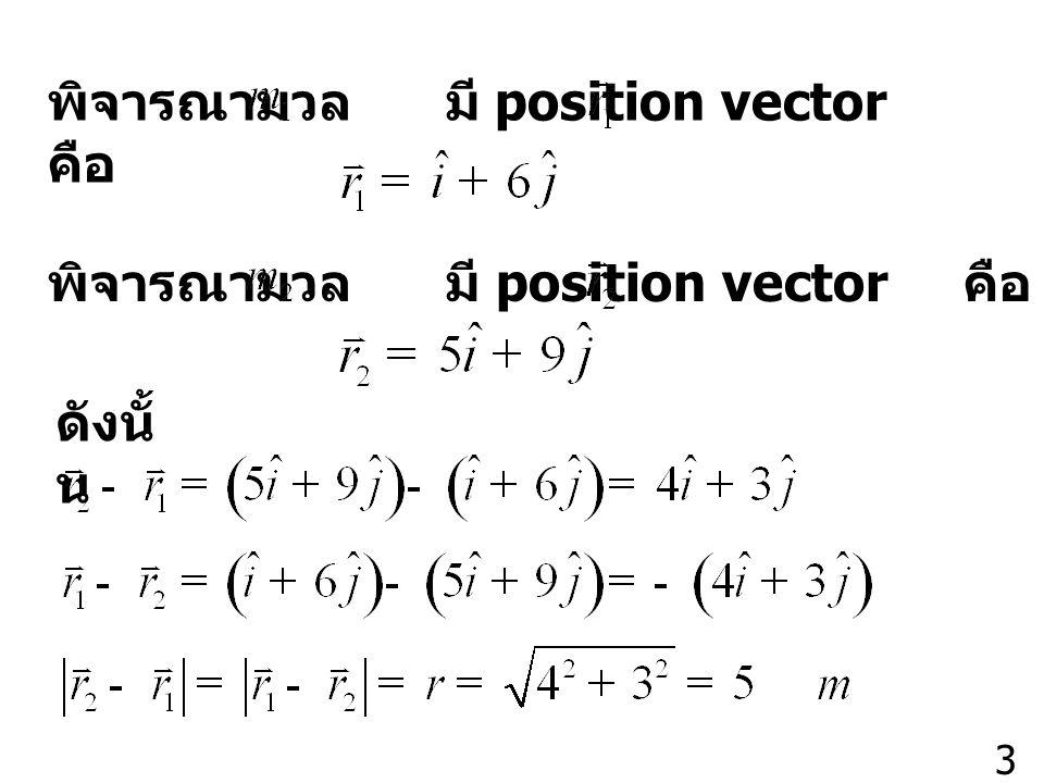 3 พิจารณามวล มี position vector คือ ดังนั้ น