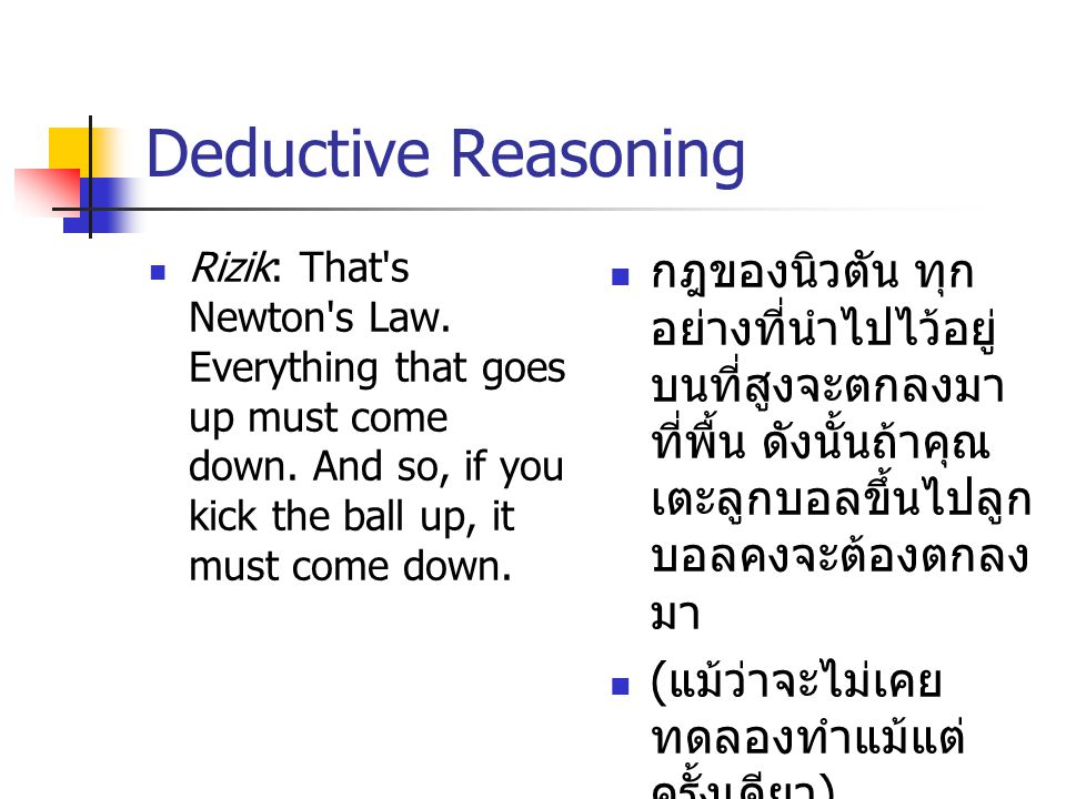 Deductive Reasoning Rizik: That s Newton s Law. Everything that goes up must come down.