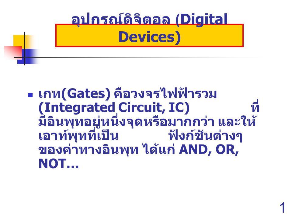 13 อุปกรณ์ดิจิตอล (Digital Devices) เกท (Gates) คือวงจรไฟฟ้ารวม (Integrated Circuit, IC) ที่ มีอินพุทอยู่หนึ่งจุดหรือมากกว่า และให้ เอาท์พุทที่เป็น ฟังก์ชันต่างๆ ของค่าทางอินพุท ได้แก่ AND, OR, NOT…