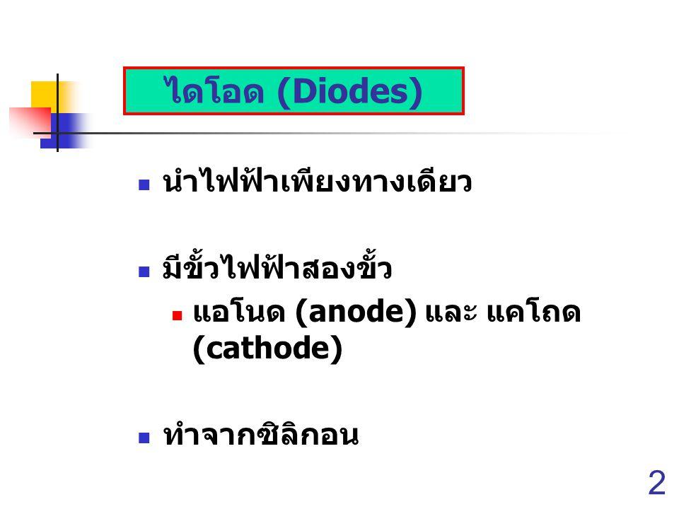 2 ไดโอด (Diodes) นำไฟฟ้าเพียงทางเดียว มีขั้วไฟฟ้าสองขั้ว แอโนด (anode) และ แคโถด (cathode) ทำจากซิลิกอน