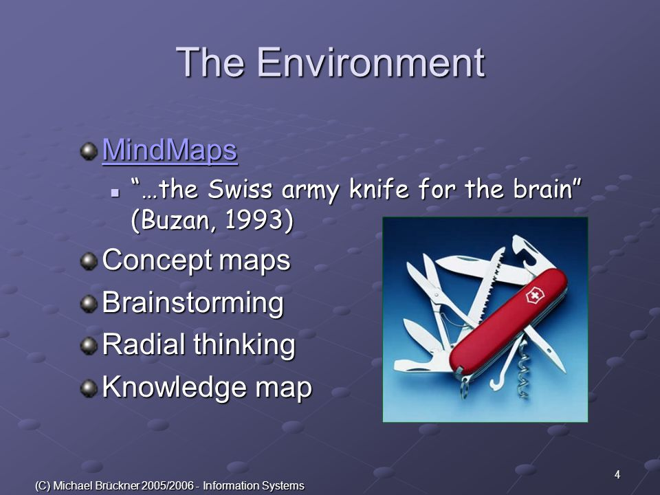 4 (C) Michael Brückner 2005/2006 - Information Systems The Environment MindMaps …the Swiss army knife for the brain (Buzan, 1993) …the Swiss army knife for the brain (Buzan, 1993) Concept maps Brainstorming Radial thinking Knowledge map