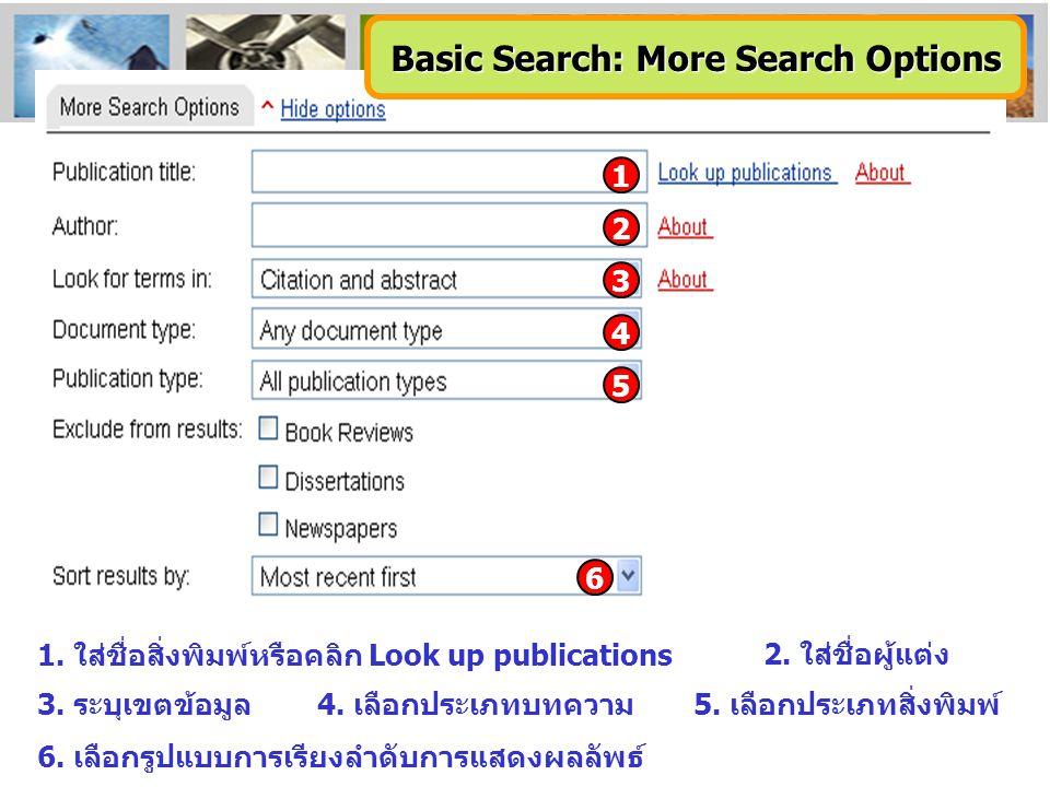 1. ใส่ชื่อสิ่งพิมพ์หรือคลิก Look up publications 2. ใส่ชื่อผู้แต่ง 3. ระบุเขตข้อมูล5. เลือกประเภทสิ่งพิมพ์ 6. เลือกรูปแบบการเรียงลำดับการแสดงผลลัพธ์ 4