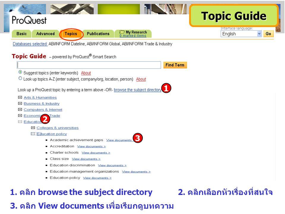 1. คลิก browse the subject directory2. คลิกเลือกหัวเรื่องที่สนใจ 3. คลิก View documents เพื่อเรียกดูบทความ 3 2 1 Topic Guide