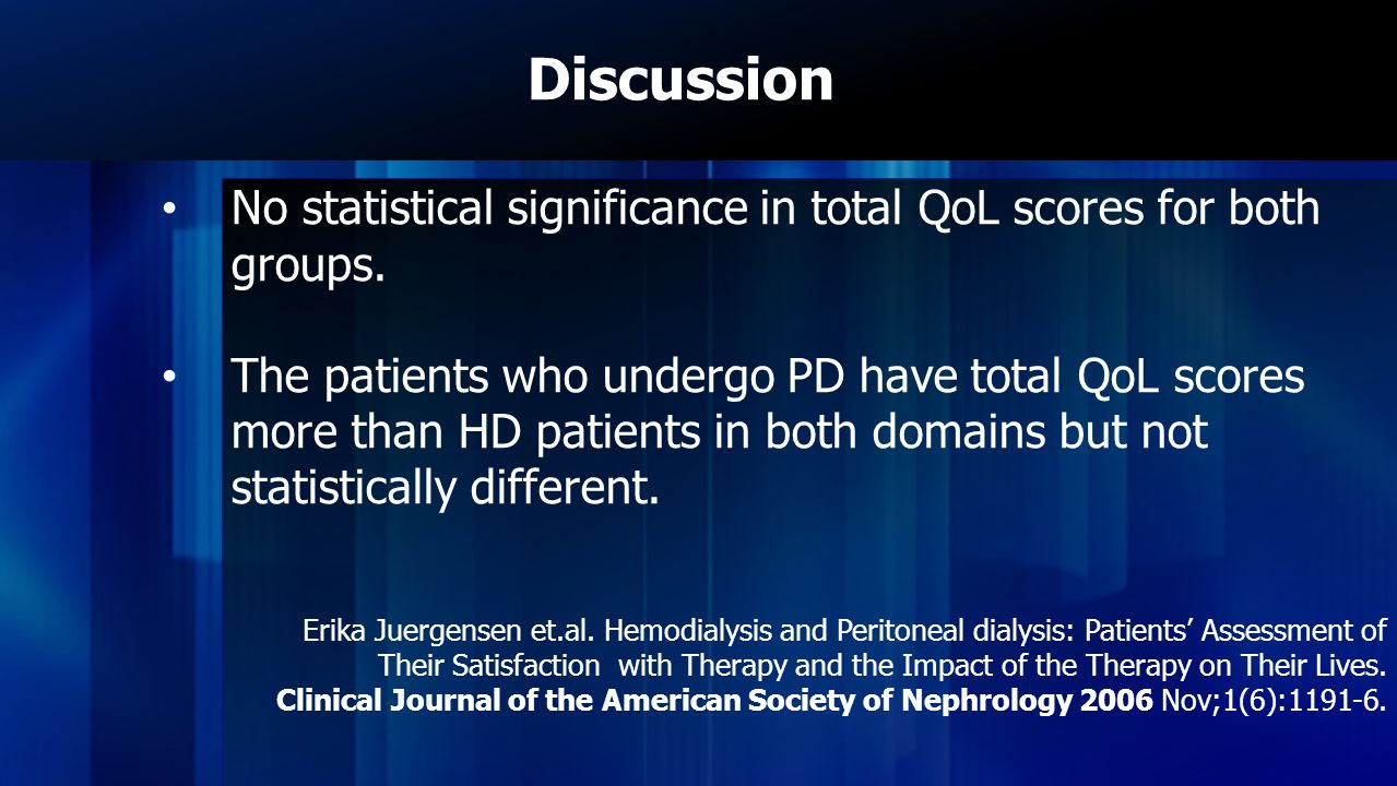 Discussion No statistical significance in total QoL scores for both groups.