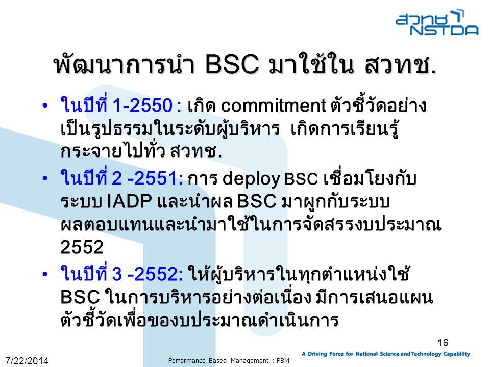 7/22/2014 Performance Based Management : PBM 16 พัฒนาการนำ BSC มาใช้ใน สวทช. ในปีที่ 1-2550 : เกิด commitment ตัวชี้วัดอย่าง เป็นรูปธรรมในระดับผู้บริห