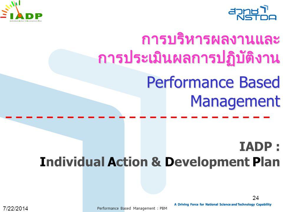 7/22/2014 Performance Based Management : PBM 24 Performance Based Management IADP : Individual Action & Development Plan การบริหารผลงานและ การประเมินผ