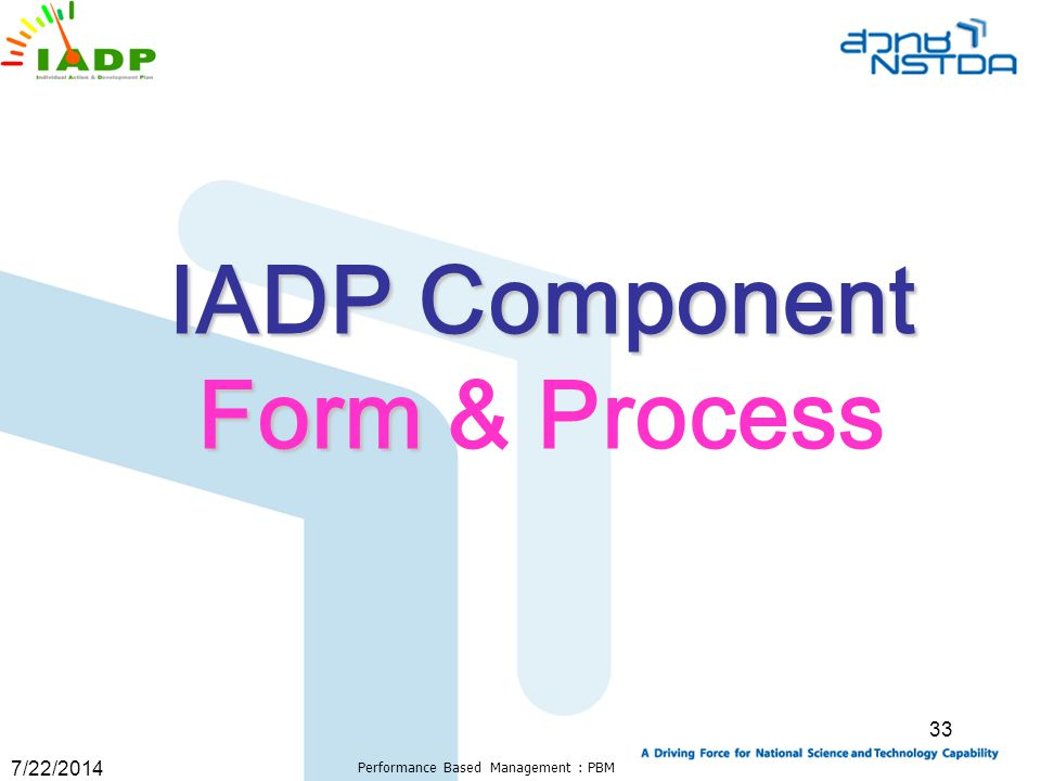 7/22/2014 Performance Based Management : PBM 33 IADP Component Form Form & Process