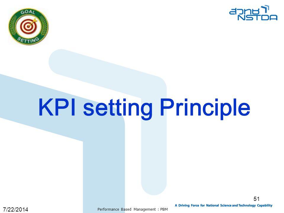 7/22/2014 Performance Based Management : PBM 51 KPI setting Principle