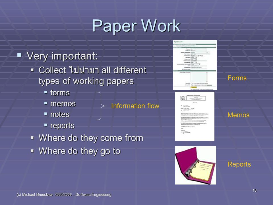 (c) Michael Brueckner 2005/ Software Engineering 13 Paper Work  Very important:  Collect ไปนำมา all different types of working papers  forms  memos  notes  reports  Where do they come from  Where do they go to Information flow Forms Memos Reports