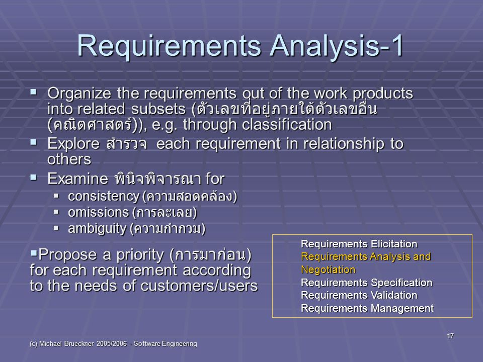 (c) Michael Brueckner 2005/2006 - Software Engineering 17 Requirements Analysis-1  Organize the requirements out of the work products into related su