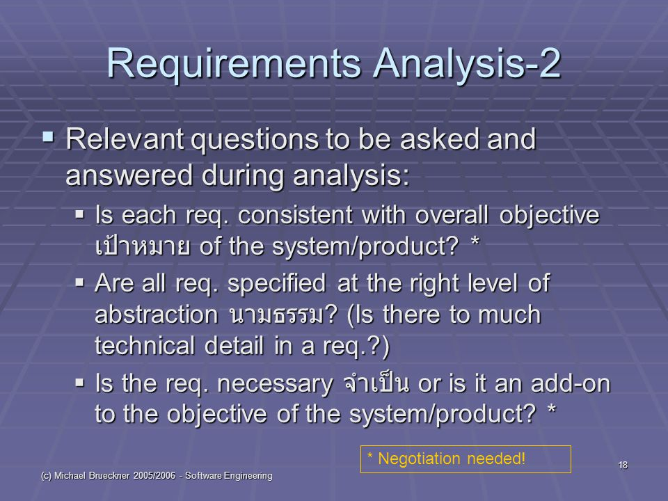 (c) Michael Brueckner 2005/2006 - Software Engineering 18 Requirements Analysis-2  Relevant questions to be asked and answered during analysis:  Is