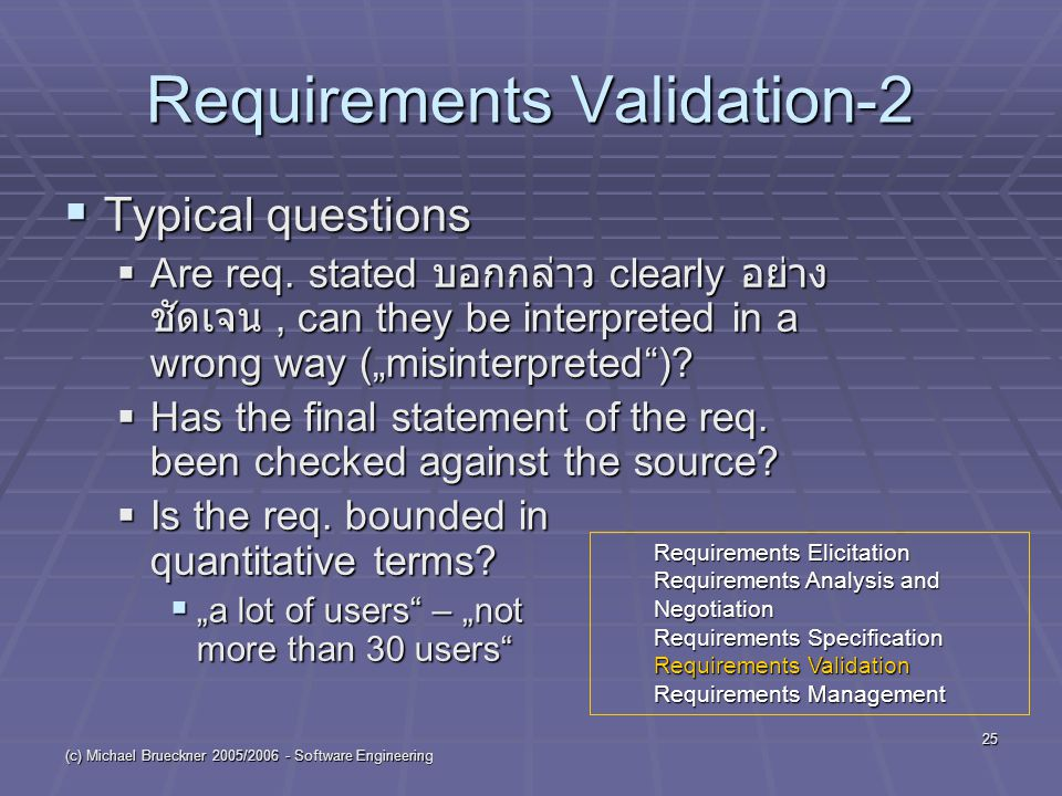 (c) Michael Brueckner 2005/2006 - Software Engineering 25 Requirements Validation-2  Typical questions  Are req. stated บอกกล่าว clearly อย่าง ชัดเจ