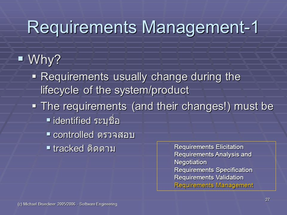 (c) Michael Brueckner 2005/ Software Engineering 27 Requirements Management-1  Why.