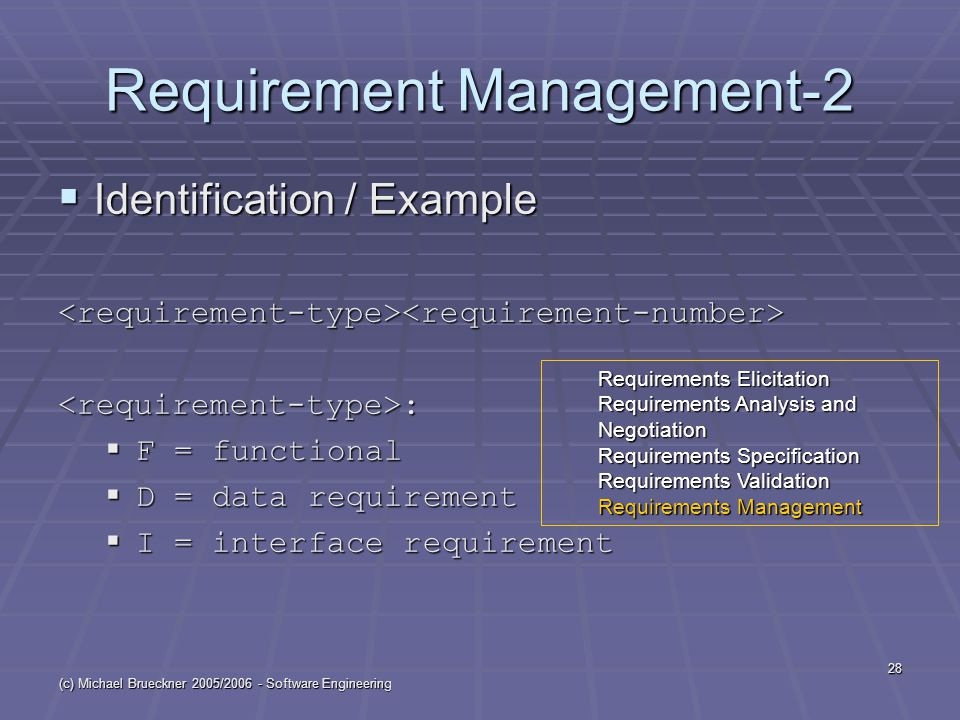 (c) Michael Brueckner 2005/ Software Engineering 28 Requirement Management-2  Identification / Example <requirement-type><requirement-number><requirement-type>:  F = functional  D = data requirement  I = interface requirement Requirements Elicitation Requirements Analysis and Negotiation Requirements Specification Requirements Validation Requirements Management