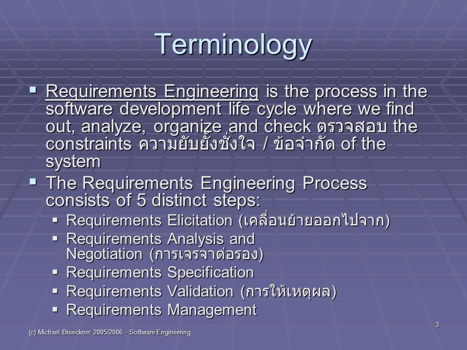 (c) Michael Brueckner 2005/2006 - Software Engineering 24 Requirements Validation-1  Formal technical review of the working documents of previous steps  by system engineers, users, customers and other stakeholders  looking for  errors in content or interpretation  areas where clarification (=more explanation) is needed  missing ขาดแคลน information  inconsistencies ความไม่สอดคล้องกัน  conflicting or unrealistic ซึ่งไม่แท้ requirements Requirements Elicitation Requirements Analysis and Negotiation Requirements Specification Requirements Validation Requirements Management