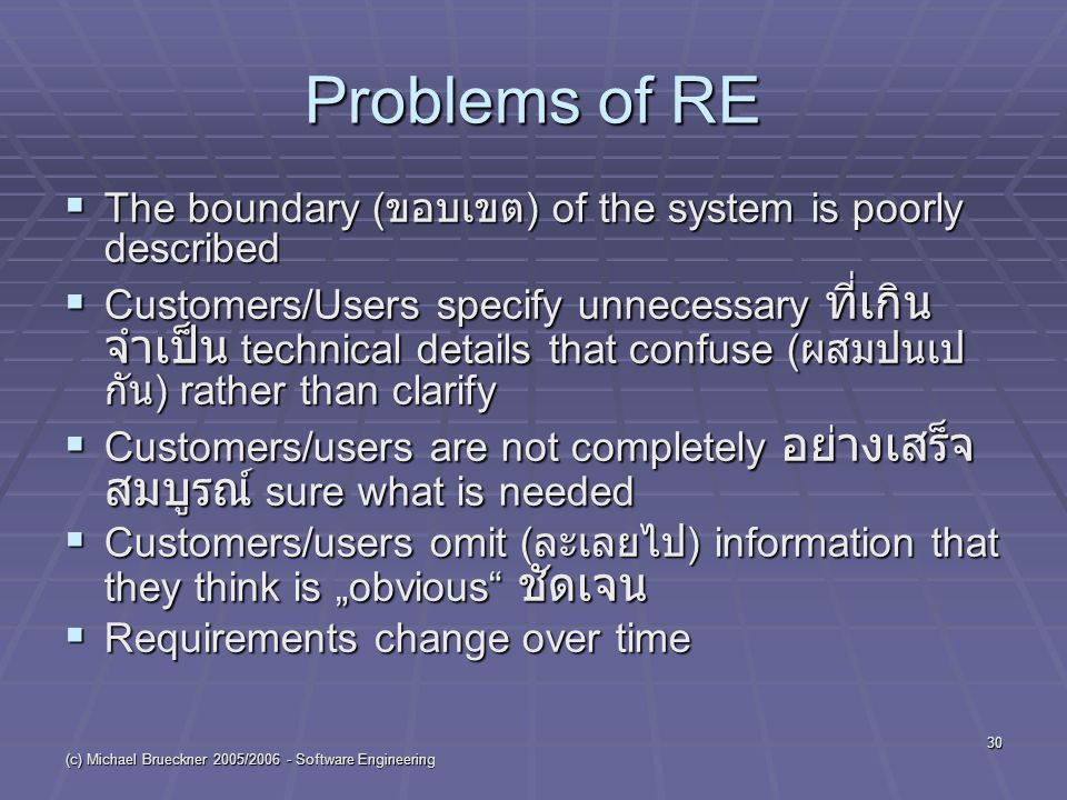 "(c) Michael Brueckner 2005/ Software Engineering 30 Problems of RE  The boundary ( ขอบเขต ) of the system is poorly described  Customers/Users specify unnecessary ที่เกิน จำเป็น technical details that confuse ( ผสมปนเป กัน ) rather than clarify  Customers/users are not completely อย่างเสร็จ สมบูรณ์ sure what is needed  Customers/users omit ( ละเลยไป ) information that they think is ""obvious ชัดเจน  Requirements change over time"