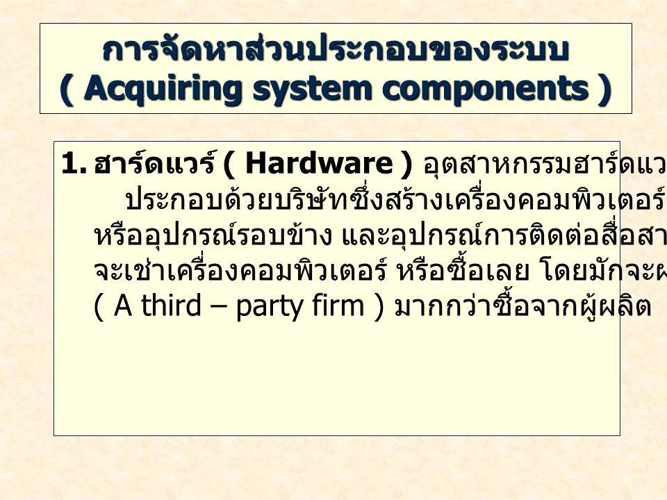 การจัดหาส่วนประกอบของระบบ ( Acquiring system components ) 1. ฮาร์ดแวร์ ( Hardware ) อุตสาหกรรมฮาร์ดแวร์ของคอมพิวเตอร์ ประกอบด้วยบริษัทซึ่งสร้างเครื่อง