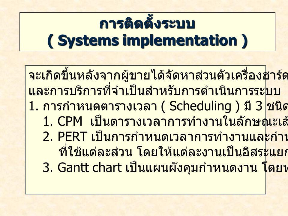 การติดตั้งระบบ ( Systems implementation ) จะเกิดขึ้นหลังจากผู้ขายได้จัดหาส่วนตัวเครื่องฮาร์ดแวร์ ซอฟต์แวร์ และการบริการที่จำเป็นสำหรับการดำเนินการระบบ